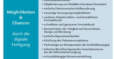 Möglichkeiten und Chancen einer digitalen Fertigung in der Orthopädietchnik..