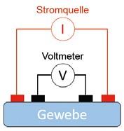 Abb. 3b Typische Elektrodenkonfiguration für eine einfache Bioimpedanzanalyse: Vier-Elektroden-Konfiguration.