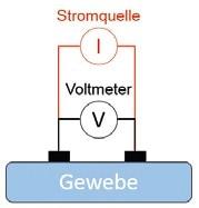 Abb. 3a Typische Elektrodenkonfiguration für eine einfache Bioimpedanzanalyse: Zwei-Elektroden-Konfiguration.