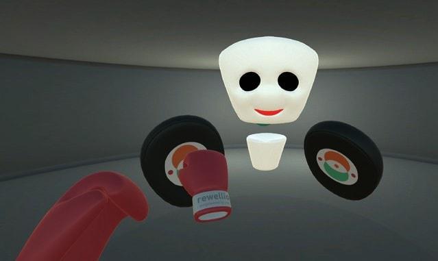 """Der Nutzer trainiert """"Boxen"""" mit dem Avatar, indem er versucht, die virtuellen """"Boxpratzen"""" zu treffen."""