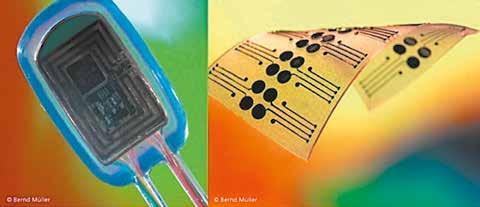 Vision einer bionischen Handprothesensteuerung. (a) Vollständig implantiertes System zur vielkanaligen myoelektrischen Signalerfassung und neuronalen elektrischen Stimulation, (b) Elektrodenstrukturen aus leitenden und nichtleitenden Polymeren zur epimysialen Signalerfassung.