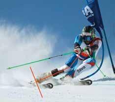Unterschenkelamputierter Skifahrer beim Einkanten.