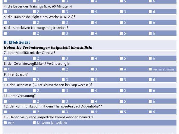 Evaluationsbogen für Probanden der Anwendungserprobung mit dem ReWalk-System für den ebenen Innenbereich
