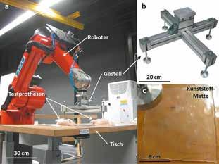 Aufbau für den Ermüdungstest in Anlehnung an EN ISO 14607. (a) Gesamtaufbau mit Roboter, Gestell, Testprothesen und Tisch; (b) Gestell zur Übertragung der Belastung; (c) Kunststoff-Auflage.