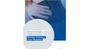 """Das Cover der Broschüre """"Weniger Schmerz, mehr Mobilität"""" zur Nutzung und Wirkung von Rückenbandagen und Rückenorthesen."""