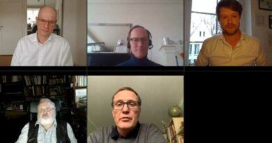 """Die Teilnehmer des Auftakts der Videokonferenzreihe """"Gesundheitspolitik im O-Ton"""""""