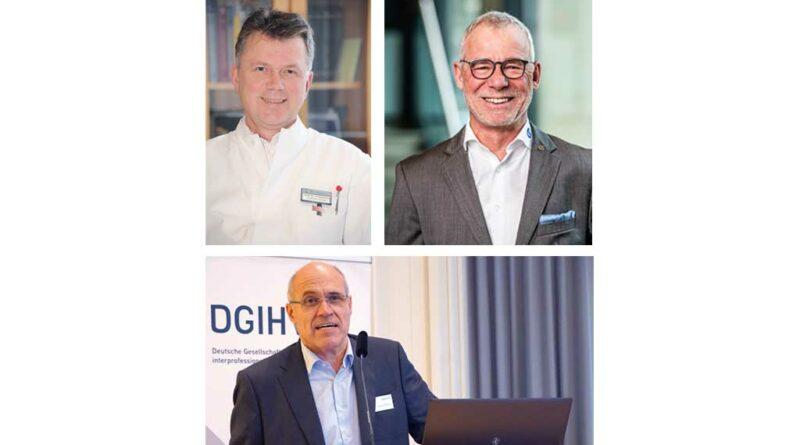 (von links oben) Unter dem Vorsitz von Prof. Dr. med. Bernhard Greitemann und Matthias Bauche rückte das TTO-Symposium das Thema Paresen in den Fokus. (unten) Prof. Dr. Wolfram Mittelmeier präsentierte als einer der Referenten der Session der Initiative '93 TO Fellows Ergebnisse der Arbeitsgruppe (AG) MDR der DGIHV.