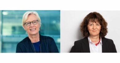 """Maria Klein-Schmeink (l.) und Martina Stamm-Fibich diskutierten beim Livetalk intensiv mit dem Bündnis """"Wir versorgen Deutschland""""."""