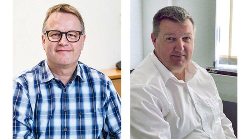 """Branchenexperte und Schulungsreferent Olaf Gawron (links) und Carsten Strangmann (BIV-OT) diskutieren im Live-Videotalk zum Fokusthema """"Verträge"""" in einer ausgewogenen Expertenrunde über die Chancen und Herausforderungen des Vertragswesens im Hilfsmittelbereich."""