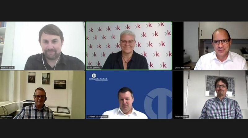 Expertenrunde diskutiert im Live-Videotalk das Vertragswesen in der Hilfsmittelversorgung.