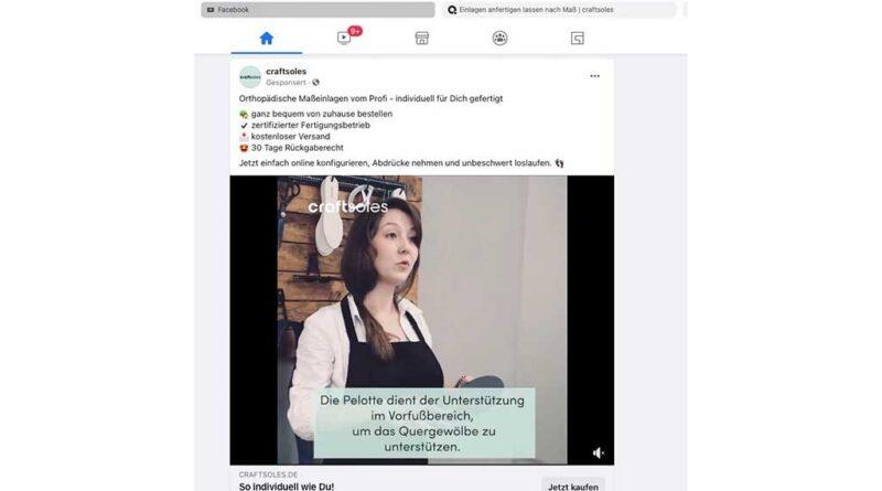 Screenshot:Facebook-Werbekampagne von Craftsoles vom 15.10.2021